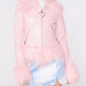 Sugar Thrillz pink vegan leather faux fur jacket